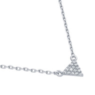 """Rhodium Plated Sterling Silver Cubic Zirconia Pave Traingle Necklace 16""""+2"""""""