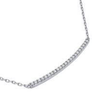 """Rhodium Plated Sterling Silver Cubic Zirconia Sideway Bar Necklace 16""""+2"""""""