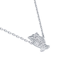 "Rhodium Plated Sterling Silver Owl Necklace 16""+2"""
