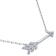 """Rhodium Plated Sterling Silver Cubic Zirconia Arrow Necklace 16""""+2"""""""