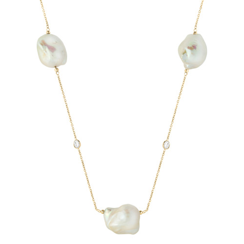 "42"" Designer Necklace Yellow Gold-Tone Plated Sterling Silver With Freshwater Simulated Pearl & Cubic Zirconia Stone Jewelry"