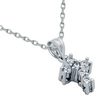 """Rhodium Plated Sterling Silver Prong Set Cubic Zirconia Ice Cross Necklace 16""""+1"""""""