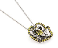 """Rhodium Plated Sterling Silver Clear And Yellow Cubic Zirconia Flower Design Necklace 18"""""""