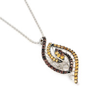 Rhodium Plated Sterling Silver Brown And Champagne Cubic Zirconia Eye Necklace