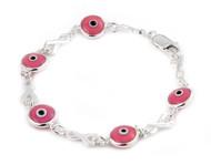 "Sterling Silver Double Sided Pink Eye Glass Bracelet 7"""