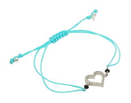 Rhodium Plated Sterling Silver Cubic Zirconia Heart Light Blue Nylon Adjustable Bracelet
