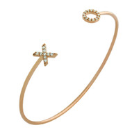 """Rose Gold-Tone Plated Sterling Silver Cubic Zirconia """"XO"""" Hugs & Kisses Wire Bangle Brecelet"""