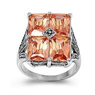 Rectangular Stone Designer Ring Rhodium Plated Brass Champagne Cubic Zirconia Simulated Marcasite