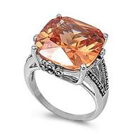 Rectangular Stone Designer Ring Rhodium Plated Brass Champagne Cubic Zirconia