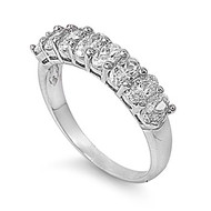 Channeled Ice Ring Rhodium Plated Brass Cubic Zirconia
