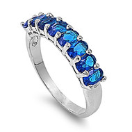 Channeled Ice Ring Simulated Sapphire Rhodium Plated Brass Cubic Zirconia