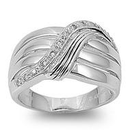 Designer Style Promise Ring Rhodium Plated Brass Cubic Zirconia