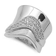 Designer Style Concave Ring Rhodium Plated Brass Cubic Zirconia