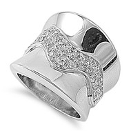 Concave High Polished Ring Rhodium Plated Brass Cubic Zirconia