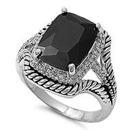 Rectangular Inspiration Ring Rhodium Plated Brass Black Cubic Zirconia