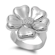 Flower Plumeria Ring Flower Rhodium Plated Brass Cubic Zirconia