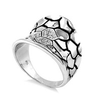 Concave Giraffe Spots Ring Rhodium Plated Brass Cubic Zirconia