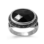 Oval Center Black Cubic Zirconia Simulated Marcasite Vintage Style Ring Sterling Silver 925