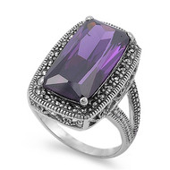 Rectangular Center Simulated Amethyst Cubic Zirconia Simulated Marcasite Vintage Style Ring Sterling Silver 925