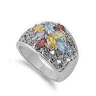 Designer Style Ring Multicolor Cubic Zirconia Rhodium Plated Brass Simulated Marcasite