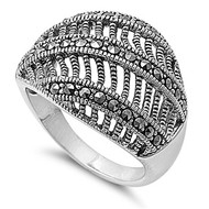 Vintage Persuasion Ring Rhodium Plated Brass Simulated Marcasite
