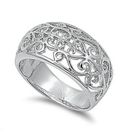 Filigree Stylus Ring Rhodium Plated Brass