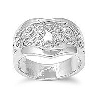 Filigree Freeform Ring Rhodium Plated Brass