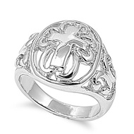 Cross Filigree Art Ring Rhodium Plated Brass
