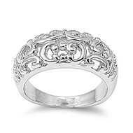 Filigree Vibes Ring Rhodium Plated Brass