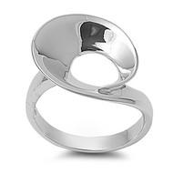 Designer Style Curve Ring Rhodium Plated Brass