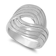 Designer Swirl Ring Rhodium Plated Brass