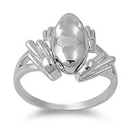 Frog Ring Rhodium Plated Brass
