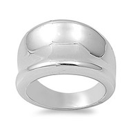 Concave Designer Band Ring Rhodium Plated Brass