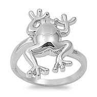 Fancy Frog Ring Rhodium Plated Brass