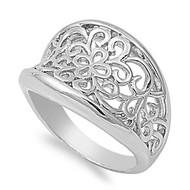 Floristry Filigree Flower Ring Rhodium Plated Brass