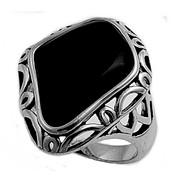 Filigree Irregular Shaped Simulated Onyx Stone Ring Sterling Silver 925
