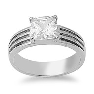 Tri Stiped Sides Princess Cut Cubic Zirconia Ring Stainless Steel