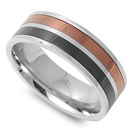 Classic Dual Row Black & Copper Color Ring Stainless Steel
