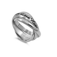 Faith Love Hope Puzzle Promise Ring Stainless Steel