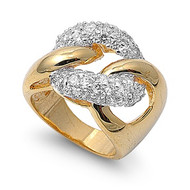 Promise Knot Love Ring Yellow Gold-Tone Plated Brass Cubic Zirconia