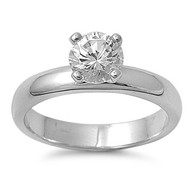 Solitaire Stone Ring Rhodium Plated Brass Cubic Zirconia