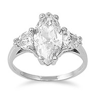 Infixed Pear Ice Ring Rhodium Plated Brass  Cubic Zirconia