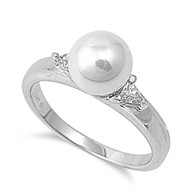 Simulated Pearl Syndrome Ring Rhodium Plated Brass Cubic Zirconia