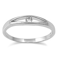 Floating Ice Ring Rhodium Plated Brass Cubic Zirconia