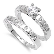 Rhodium Plated Brass Engagement/ Wedding Ring with Cubic Zirconia