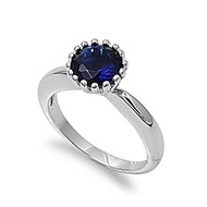 Crown Set Stone Ring Rhodium Plated Brass Simulated Sapphire Cubic Zirconia