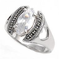 Marquise Center Clear Cubic Zirconia Simulated Marcasite Vintage Style Ring Sterling Silver 925