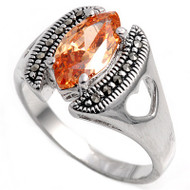 Marquise Center Champagne Cubic Zirconia Simulated Marcasite Vintage Style Ring Sterling Silver 925