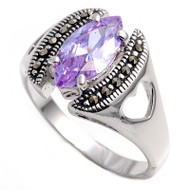Marquise Center Lavender Cubic Zirconia Simulated Marcasite Vintage Style Ring Sterling Silver 925