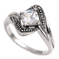 Princess Cut Center Clear Cubic Zirconia Simulated Marcasite Vintage Style Ring Sterling Silver 925
